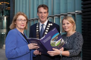 Minister of State for Housing and Planning Jan O'Sullivan TD, Society President Micheál O'Connor, and Society Director General Ciara Murphy.