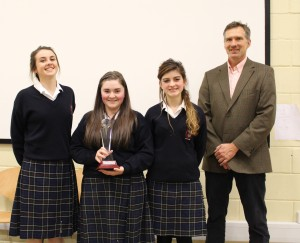 Katelyn Hennessy, Taylor Fitzgibbon and Leah McDonald of ScoilChriostRi, Portlaoise, with Head of the Department of Built Environment at IT Carlow, Edwin Landzaad.