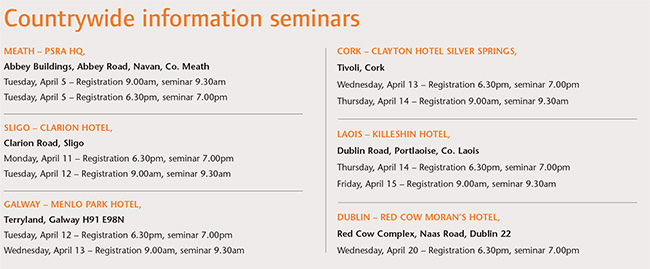 Countrywide information seminars